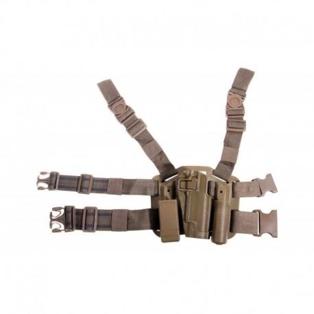 Pistolera Plataforma Rígida Pernera para 1911 y Glock 34 TAN