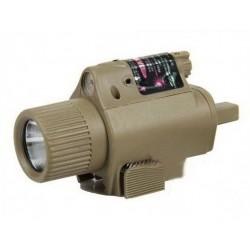 Linterna LED estilo M6 Tan para pistola con láser rojo