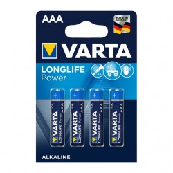 Pila alcalina Varta Longlife Power AAA LR03 1,5V (pack 4)